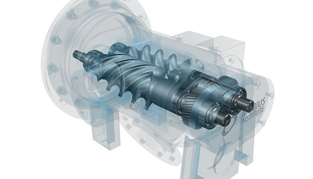 Screw-compressor-with-timing-gear